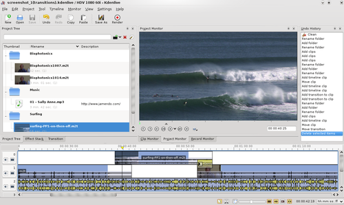 Schermata di un programma open-source di video editing