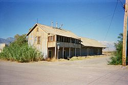 Abandoned Carson and Colorado Railroad train depot in Keeler, CA
