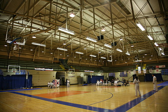 The interior of Kenney Gym, which Uni High uses as their main gymnasium
