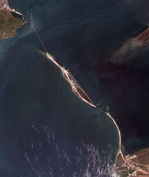 Tuzla Island - Satellite photo of the Strait of Kerch with the Kosa Tuzla Island in the middle.