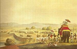 Khedda - A depiction of a khedda, trapping elephants, 1808