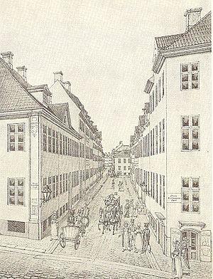 Klareboderne - A view down Klareboderne from Købmagergade on a drawing by Heinrich Gustav Ferdinand Holm, 1923