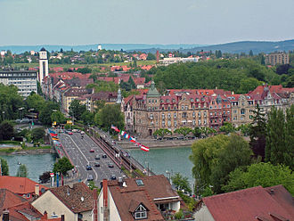 Seerhein - View from Constance Minster tower to the beginning of the Seerhein Konstanz on the old bridge over the Rhine