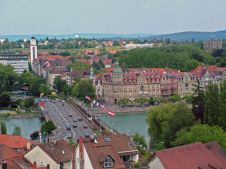 Distance markers along the Rhine indicate distances from this bridge in Constance Konstanz Blick vom Munsterturm.jpg