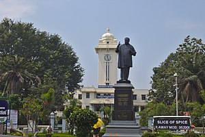 University of Kerala - Statue of Malayalam poet Kumaran Asan in front of Kerala University