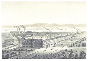 Elizabeth, New Jersey - The Singer Sewing Machine Company's factory at Elizabethport, ca. 1876
