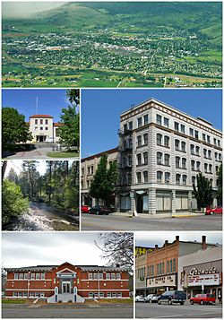 Clockwise: Aerial view of the city; the Foley Building; the Granada theater; Carnegie Library; Catherine Creek; Eastern Oregon University Pierce Library.