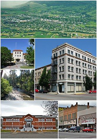 La Grande, Oregon - Clockwise: Aerial view of the city; the Foley Building; the Granada theater; Carnegie Library; Catherine Creek; Eastern Oregon University Pierce Library.