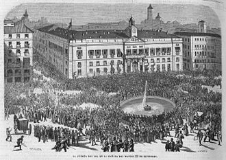 Glorious Revolution (Spain) - The Puerta del Sol on 29 September 1868.