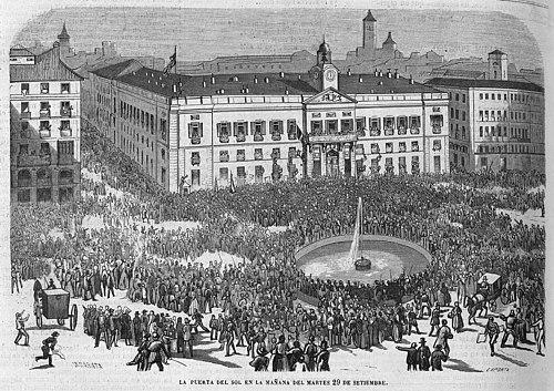 Madrid: la Puerta del Sol en la mañana del 29 de septiembre de 1868