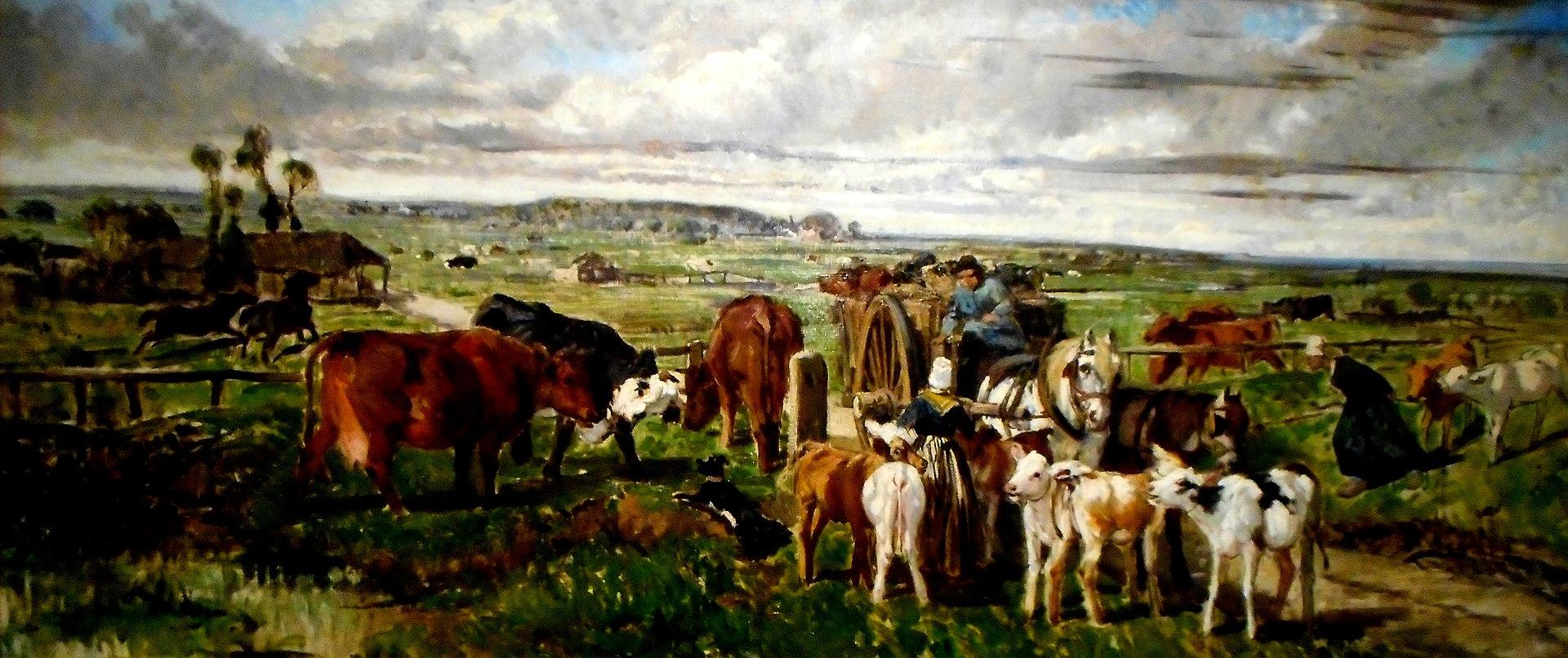 La traite des veaux dans la Vallée de la Touque, Normandie (1859) by Giuseppe Palizzi.jpg