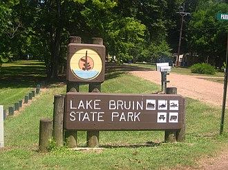 Lake Bruin State Park - Entrance sign at Lake Bruin State Park