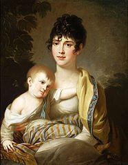 Portrait of Teofila Radziwiłł née Morawska with a daughter.