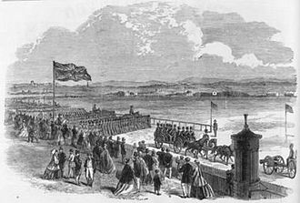 Liverpool Irish - Reviews of the Lancashire Rifle Volunteer Corps were held annually. They became important social events, attracting large attendances; in 1864, it was estimated that more than 30,000 people were present at the review conducted at Aintree Racecourse.