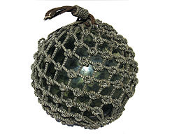 Large Glass Fishing Float with Net 1
