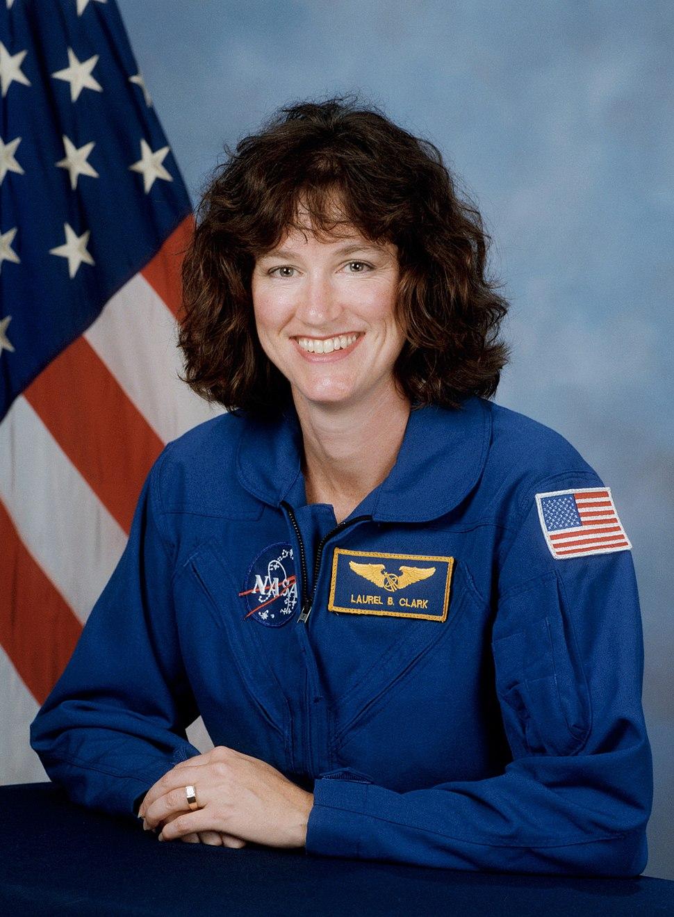 Laurel Clark, NASA photo portrait in blue suit