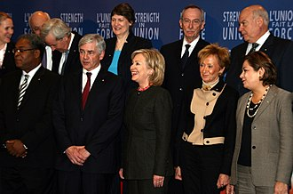 Lawrence Cannon - Lawrence Cannon stands next to Haitian Prime Minister Jean-Max Bellerive (left) and United States Secretary of State Hillary Clinton at an emergency relief summit on the 2010 Haiti earthquake in Montreal.