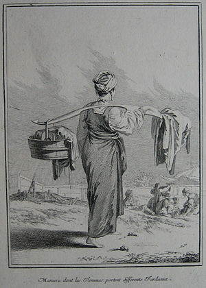 Jean-Baptiste Chappe d'Auteroche - One of the illustrations from Chappe's Voyage en Sibérie, an engraving of a Russian peasant woman by Jean-Baptiste Le Prince.