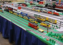 One section of a massive Lego train layout at the National Train Show in Cincinnati, Ohio, July 9 2005.