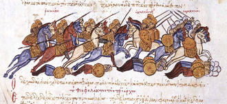 Byzantine conquest of Cilicia - Niketas Chalkoutzes and his entourage escape during a battle between the Byzantines and the Arabs. Miniature from the Madrid Skylitzes