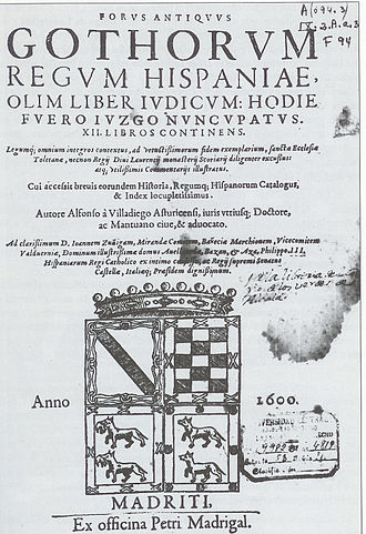 Visigothic Code - The cover of an edition of the Liber Judiciorum from 1600.
