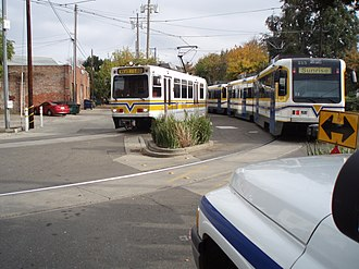 13th Street (Sacramento RT) - Gold and Blue Line trains at 13th Street