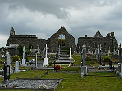 Lislaughtin Abbey ruins and modern cemetery