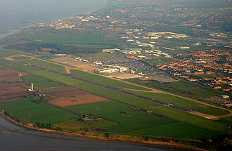 Garston and Halewood (UK Parliament constituency) - Aerial view of Liverpool John Lennon Airport in 2005 and surrounding semi-urban land forming a southern minority of the seat