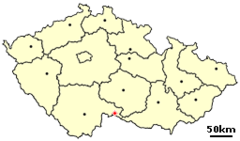 Location of Czech city Slavonice.png