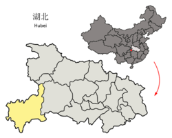 Location of Enshi Prefecture in Hubei
