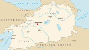 Location of Tigranocerta within the Kingdom Armenia.png