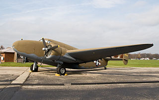 Lockheed Model 18 Lodestar American passenger transport aircraft of the World War II era