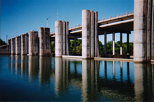 Lady Bird Lake - Longhorn Dam impounds Lady Bird Lake.