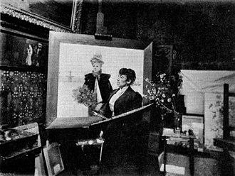 Louise Abbéma - Abbéma at work in her studio.