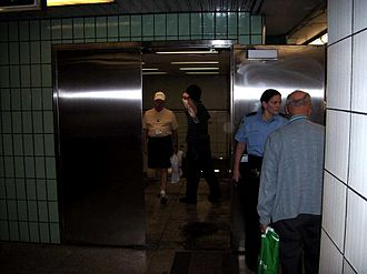 Bay station (Toronto) - Cumberland exit from Lower Bay station on the Upper Bay platform, May 26, 2007