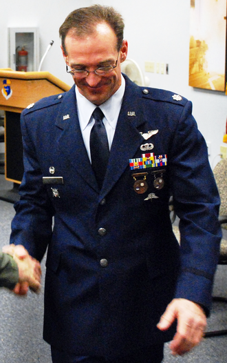 Badges of the United States Air Force - Ribbons and badges of Lt Col (R) Coy Speer, a former 308th Rescue Squadron commander of the US Air Force Reserve Command
