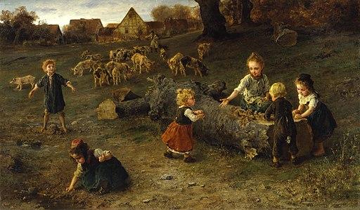 Ludwig Knaus - Sandkuchen backen (1873)