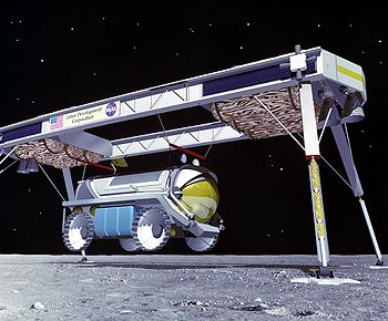 A lunar rover being unloaded from a cargo spacecraft. Conceptual drawing.