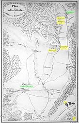 Map of the battlefield between Lutter and Hahausen, north is at the bottom right