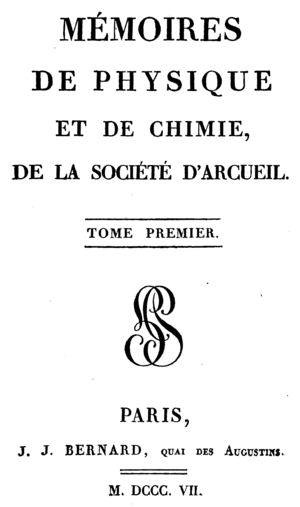 Society of Arcueil - Titlepage of the volume 1 from 1807