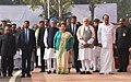 M. Venkaiah Naidu, the Prime Minister, Shri Narendra Modi, the former Prime Minister, Dr. Manmohan Singh and the Speaker, Lok Sabha, Smt. Sumitra Mahajan at an event to pay homage to the martyrs of the 2001 Parliament attack.jpg