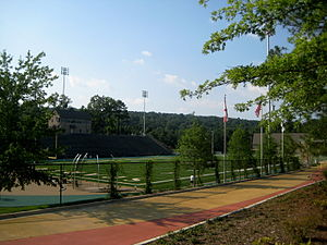 Mountain Brook High School - A view of the football field, track and outdoor mall area