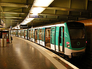 Paris Métro Line 2 - An MF 2000 stock train at Nation