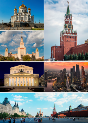 Moscow - Clockwise from top left: Cathedral of Christ the Saviour; Spasskaya Tower of the Moscow Kremlin; MIBC; Red Square, Saint Basil's Cathedral; Bolshoi Theatre; and Moscow State University.