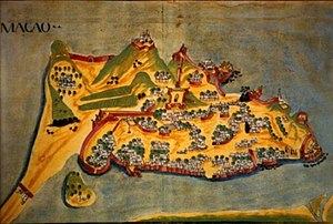 Battle of Macau - Map of Macau Peninsula in 1639, the city now reinforced with walls and forts