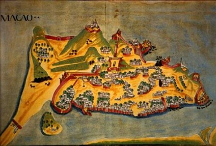 A depiction, from 1639, of the Macau Peninsula, during the golden age of colonization of Portuguese Macau. Macau oldmap.jpg