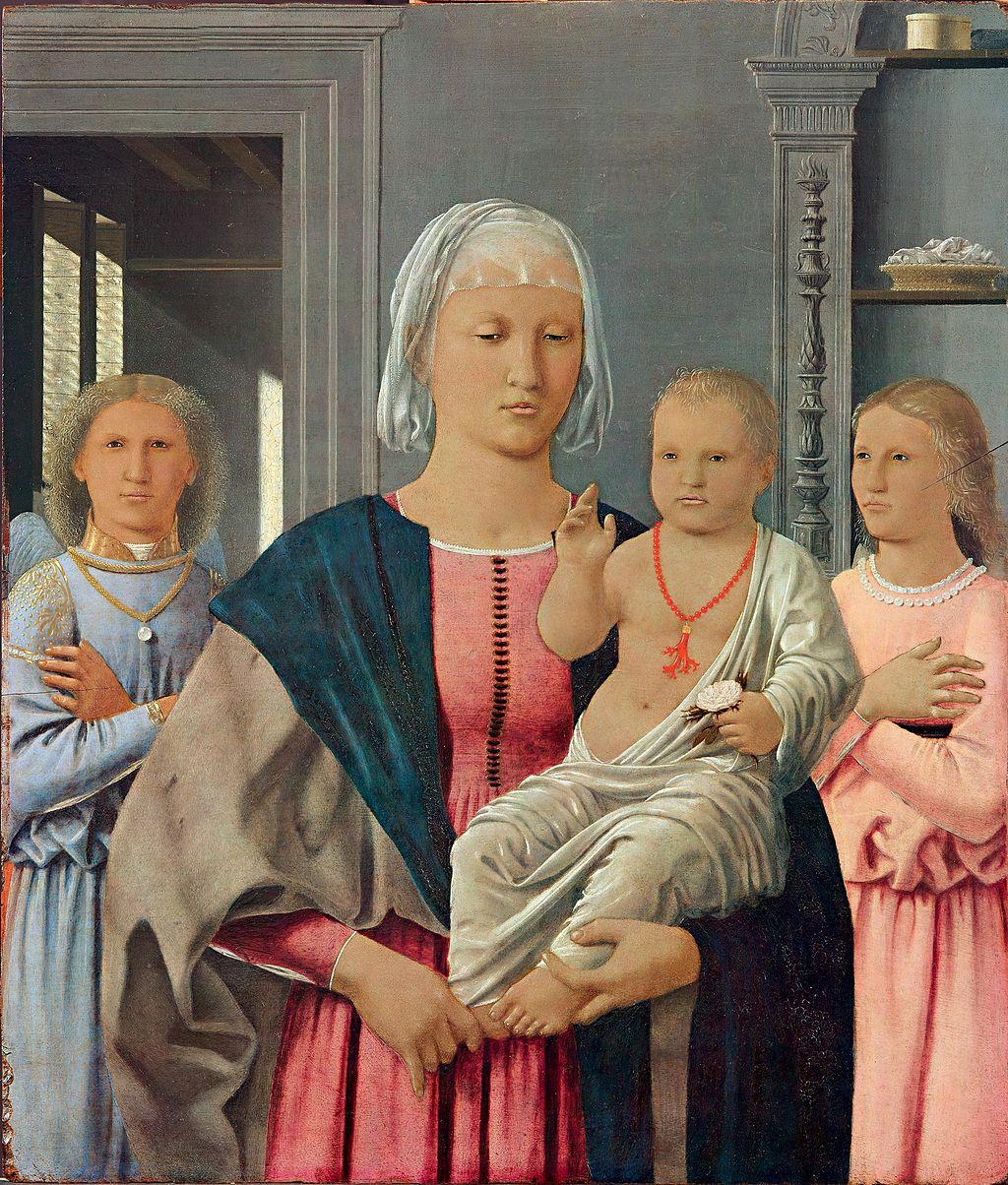 Piero della Francesca, Madonna di Senigallia, oil on panel, 67 cm × 53.5 cm (26 in × 21.1 in), Galleria Nazionale delle Marche, Urbino