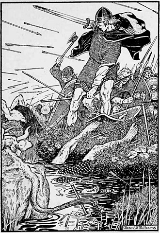 Bjaðmunjo Mýrjartaksdóttir - An early twentieth-century depiction of Magnús Óláfsson's death in battle.
