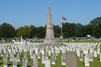 Magnolia Cemetery (Mobile, Alabama) - The Confederate Rest monument, surrounded by the graves of 1100 Confederate war dead.