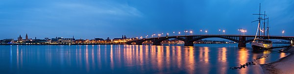 View of Mainz with Theodor-Heuss-Bridge, blue hour, panorama